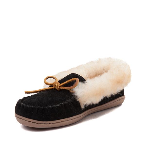 alternate view Womens Minnetonka Alpine Sheepskin Moc Casual Shoe - BlackALT2