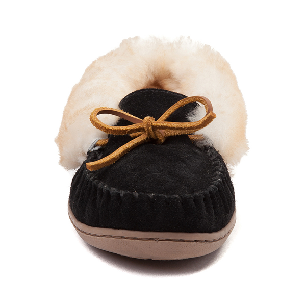 alternate view Womens Minnetonka Alpine Sheepskin Moc Casual Shoe - BlackALT4