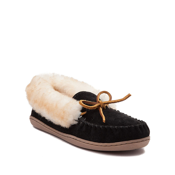 alternate view Womens Minnetonka Alpine Sheepskin Moc Casual Shoe - BlackALT5