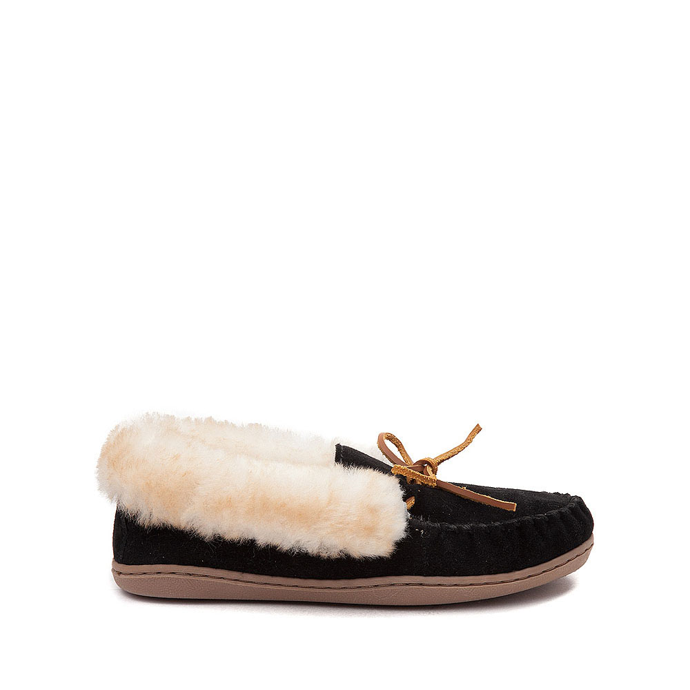 Womens Minnetonka Alpine Sheepskin Moc Casual Shoe - Black