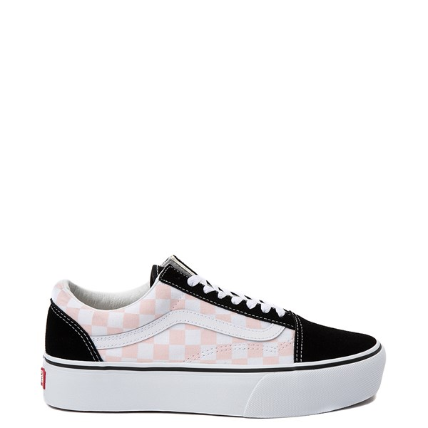 Vans Old Skool Checkerboard Platform Skate Shoe - Black / White / Pink