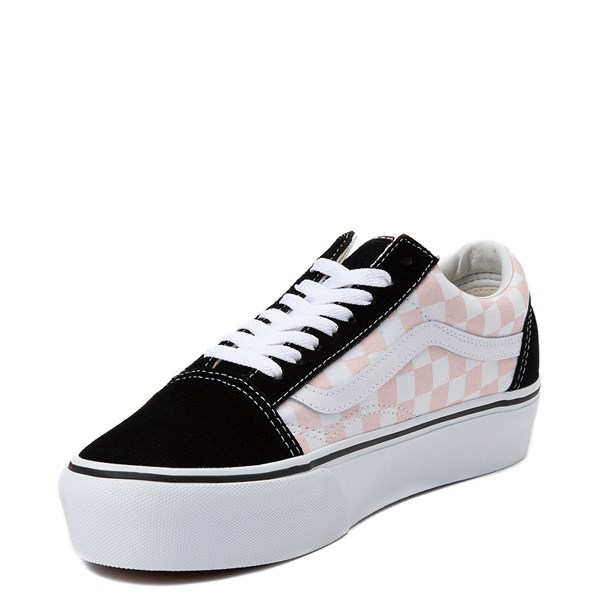 alternate view Vans Old Skool Checkerboard Platform Skate Shoe - Black / White / PinkALT3