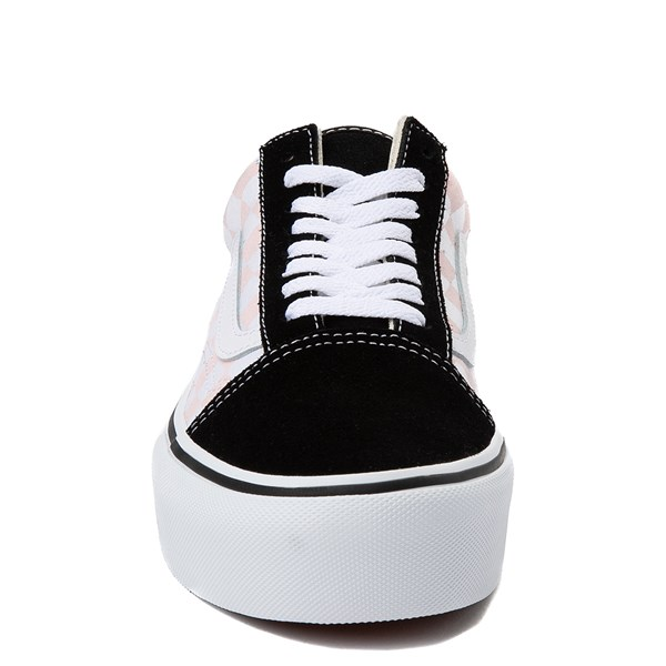 alternate view Vans Old Skool Checkerboard Platform Skate Shoe - Black / White / PinkALT4