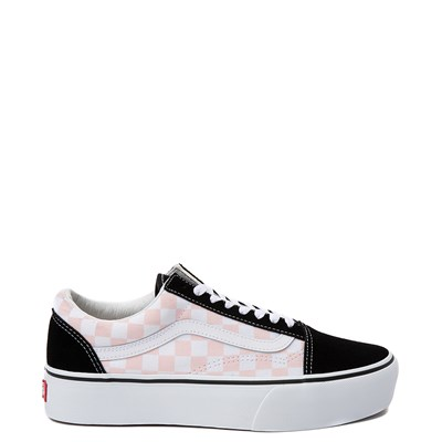Main view of Vans Old Skool Checkerboard Platform Skate Shoe - Black / White / Pink