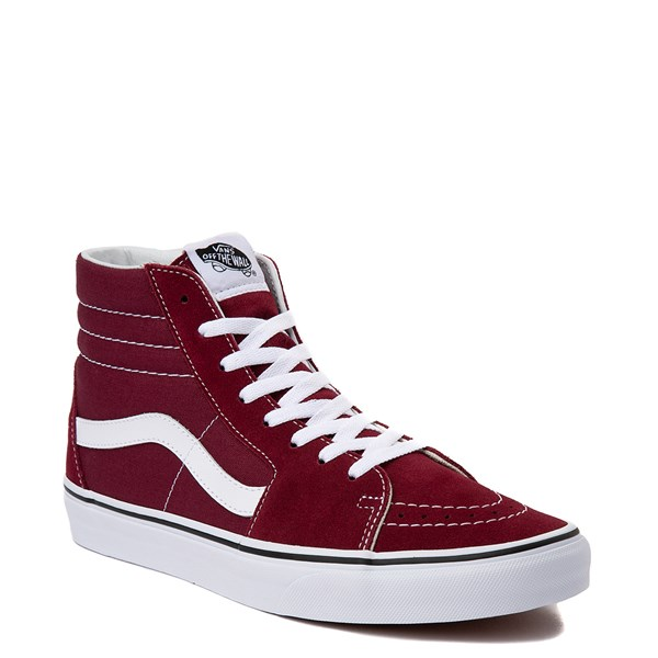 alternate view Vans Sk8 Hi Skate Shoe - Burgundy / WhiteALT1