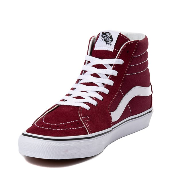 alternate view Vans Sk8 Hi Skate Shoe - Burgundy / WhiteALT3