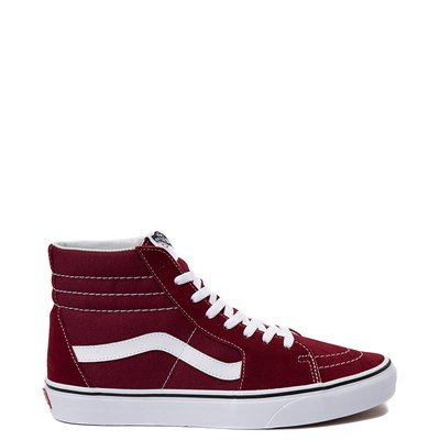 Main view of Vans Sk8 Hi Skate Shoe - Burgundy / White