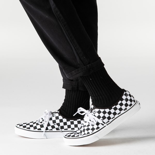 alternate view Vans Authentic Checkerboard Skate Shoe - Black / WhiteB-LIFESTYLE1