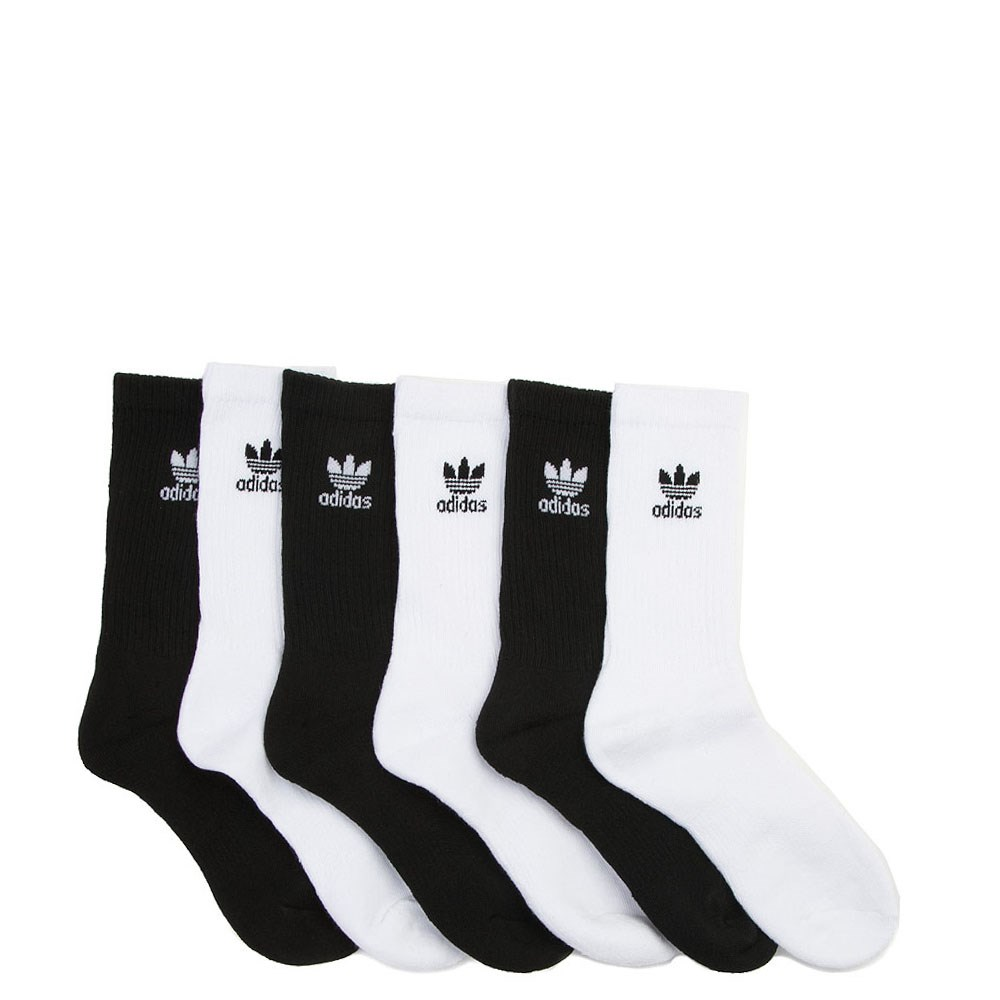 adidas Trefoil Logo Crew Socks 6 Pack - Big Kid - White / Black