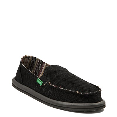 Alternate view of Womens Sanuk Donna Hemp Slip On Casual Shoe - Black