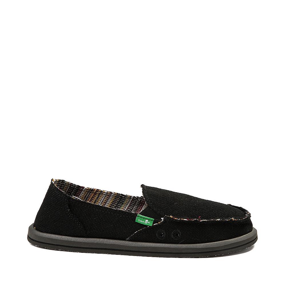 Womens Sanuk Donna Hemp Slip On Casual Shoe - Black