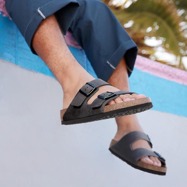 alternate view Mens Birkenstock Arizona Soft Footbed Sandal - IronALT1C