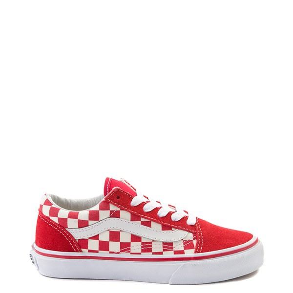 Default view of Vans Old Skool Checkerboard Skate Shoe - Little Kid - Red / White