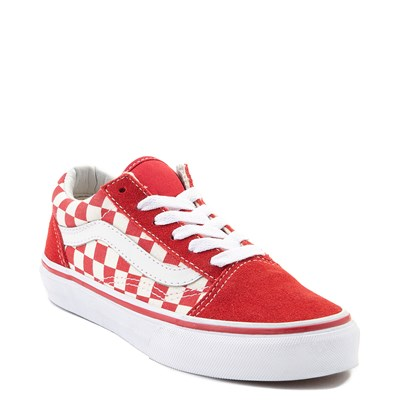 Alternate view of Youth Vans Old Skool Red and White Chex Skate Shoe