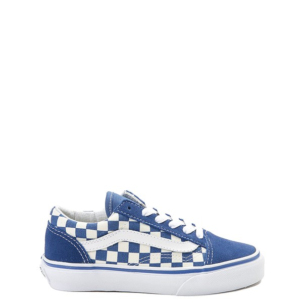 Default view of Vans Old Skool Checkerboard Skate Shoe - Little Kid - Blue / White