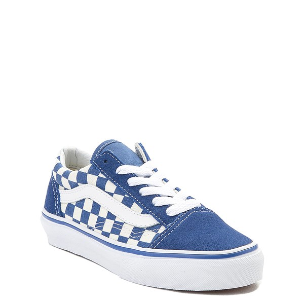 Alternate view of Vans Old Skool Checkerboard Skate Shoe - Little Kid - Blue / White