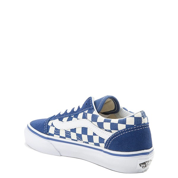 alternate view Vans Old Skool Checkerboard Skate Shoe - Little Kid - Blue / WhiteALT2