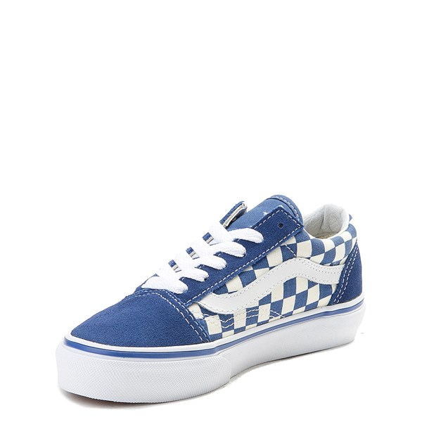 alternate view Vans Old Skool Checkerboard Skate Shoe - Little Kid - Blue / WhiteALT3