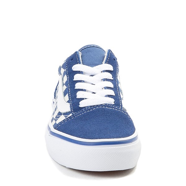 alternate view Vans Old Skool Checkerboard Skate Shoe - Little Kid - Blue / WhiteALT4