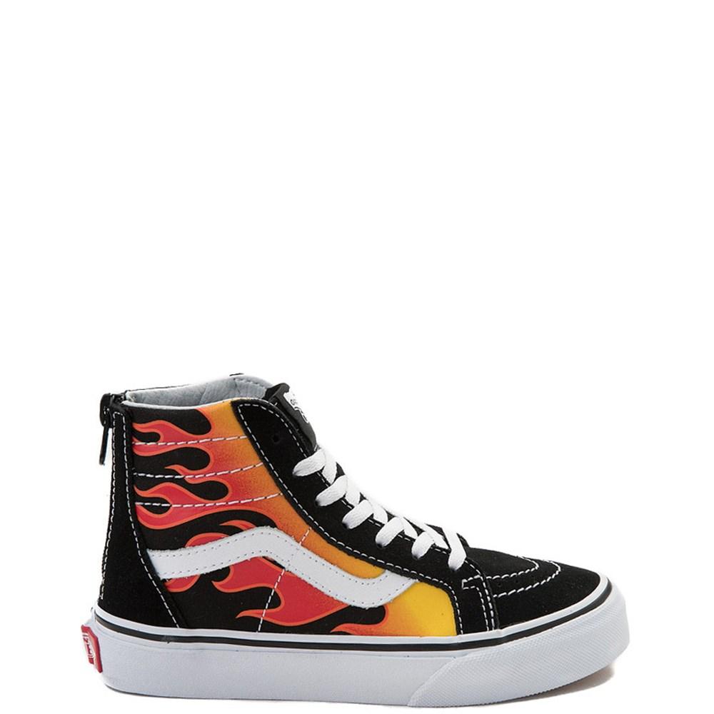 170cef1ff265 Youth Vans Sk8 Hi Flames Skate Shoe