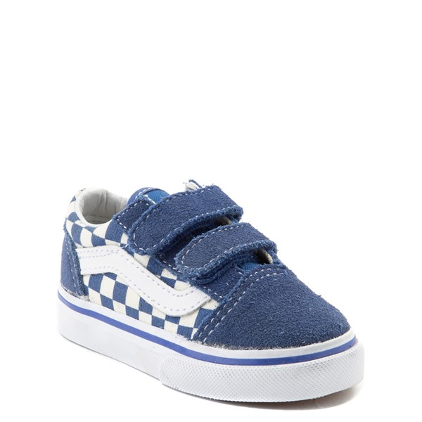 alternate view Vans Old Skool V Checkerboard Skate Shoe - Baby / Toddler - Blue / WhiteALT1