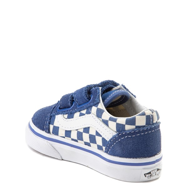 alternate view Vans Old Skool V Checkerboard Skate Shoe - Baby / Toddler - Blue / WhiteALT2