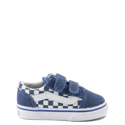 Toddler Vans Old Skool V Blue and White Chex Skate Shoe