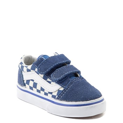 Alternate view of Vans Old Skool V Checkerboard Skate Shoe - Baby / Toddler - Blue / White
