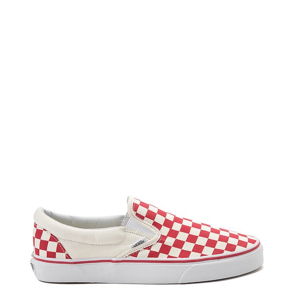 Main view of Vans Slip On Checkerboard Skate Shoe - Red / White