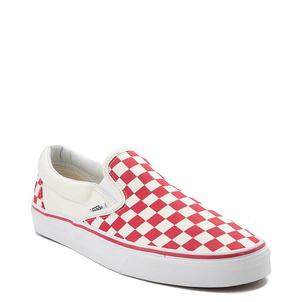 Vans Slip On Checkerboard Skate Shoe - Red / White