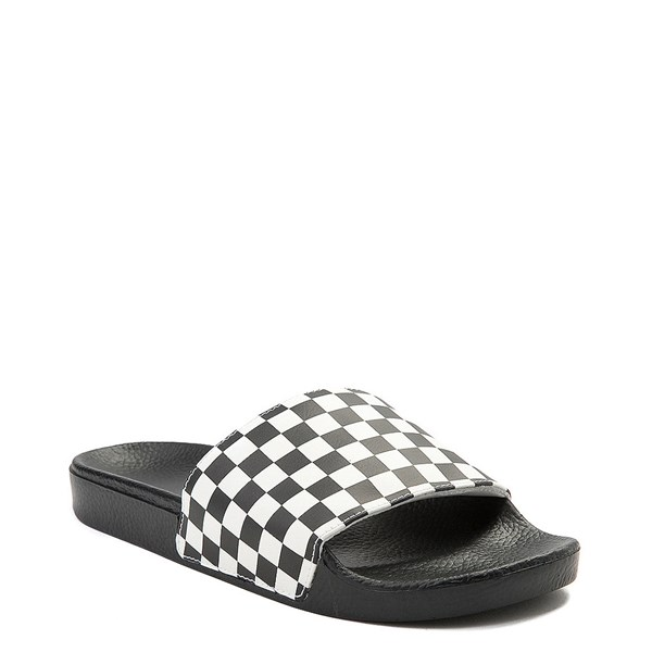 alternate view Mens Vans Slide On Checkerboard Sandal - Black / WhiteALT1