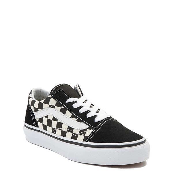 alternate view Vans Old Skool Checkerboard Skate Shoe - Little Kid - Black / WhiteALT5