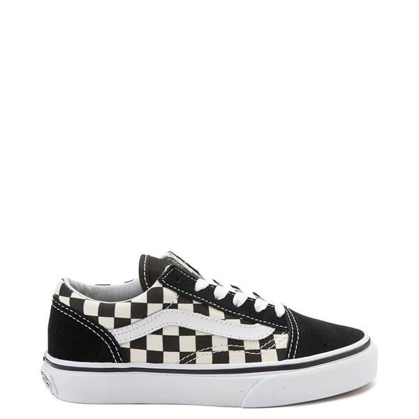 Default view of Vans Old Skool Checkerboard Skate Shoe - Little Kid - Black / White