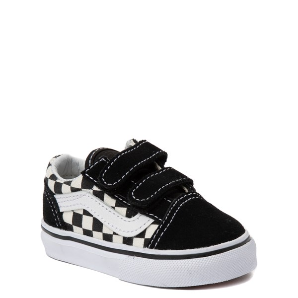 alternate view Vans Old Skool V Checkerboard Skate Shoe - Baby / Toddler - Black / WhiteALT1