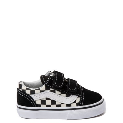 Main view of Vans Old Skool V Checkerboard Skate Shoe - Baby / Toddler - Black / White