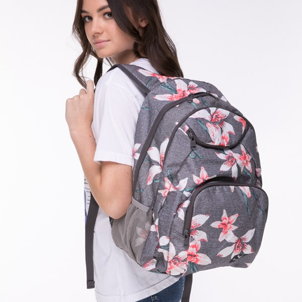 alternate view Womens Roxy Shadow Swell Backpack - Heather Gray / FloralALT4