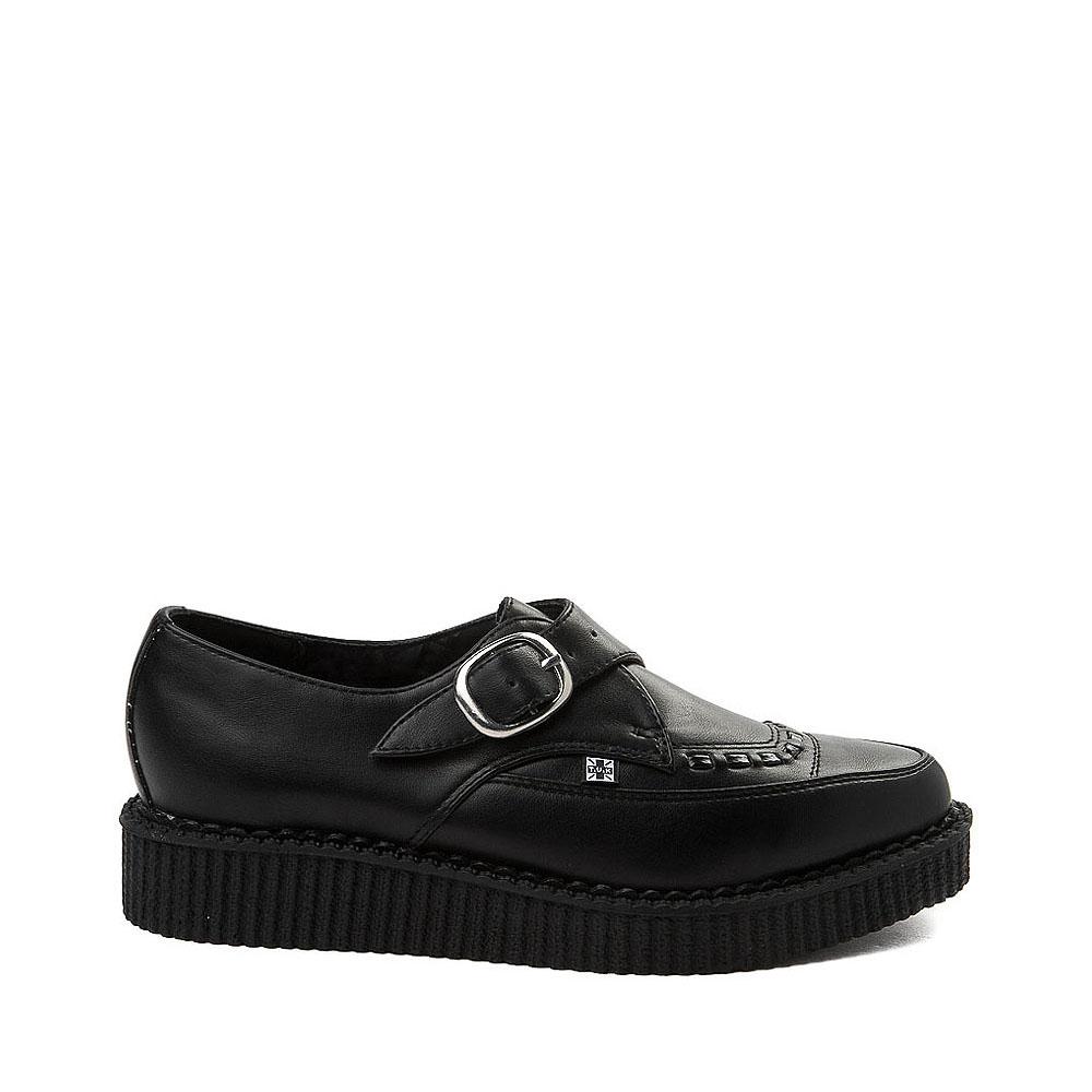 T.U.K. Pointed Toe Buckle Low Sole Creeper Casual Shoe - Black