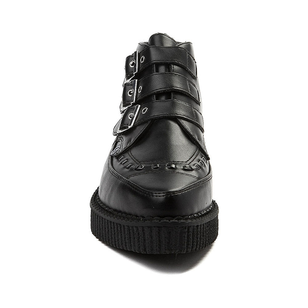 alternate view T.U.K. Pointed Toe 3-Buckle Low Sole Creeper Boot - BlackALT4