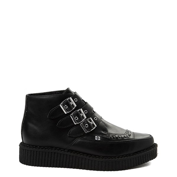 Main view of T.U.K. Pointed Toe 3-Buckle Low Sole Creeper Boot - Black
