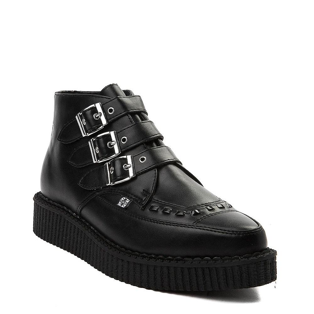 T.U.K Viva Low Creeper Womens Black Suede Shoes 41 EU