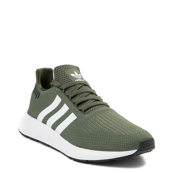 alternate view Womens adidas Swift Run Athletic Shoe - Olive / White / BlackALT1
