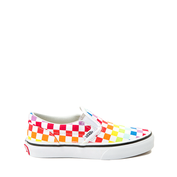 Vans Slip On Rainbow Checkerboard Skate Shoe  - Little Kid - Multi