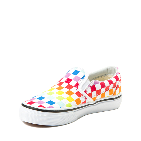 alternate view Vans Slip On Rainbow Checkerboard Skate Shoe  - Little Kid - MultiALT2