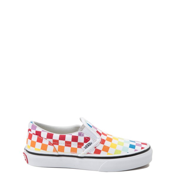Default view of Vans Slip On Rainbow Checkerboard Skate Shoe - Little Kid / Big Kid - Multi