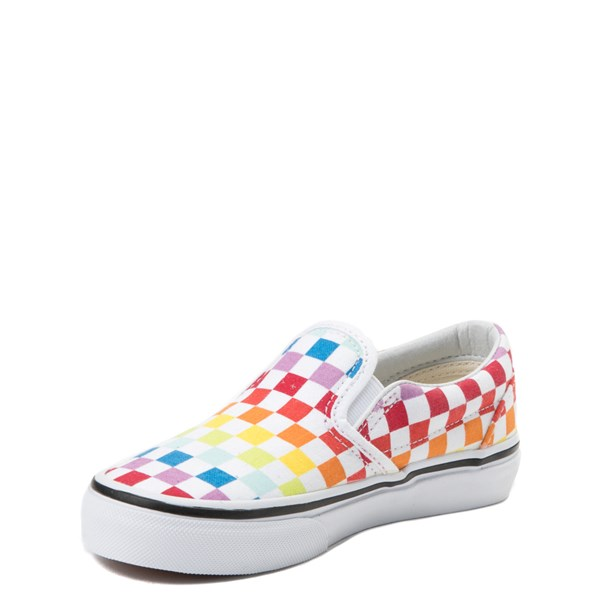 alternate view Vans Slip On Rainbow Checkerboard Skate Shoe  - Little Kid - MultiALT3