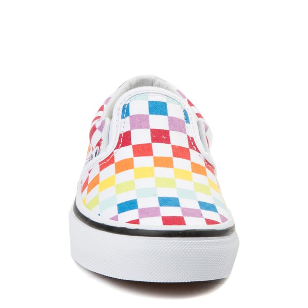alternate view Vans Slip On Rainbow Checkerboard Skate Shoe  - Little Kid - MultiALT4