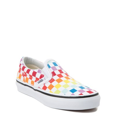 Alternate view of Vans Slip On Rainbow Checkerboard Skate Shoe  - Little Kid - Multi