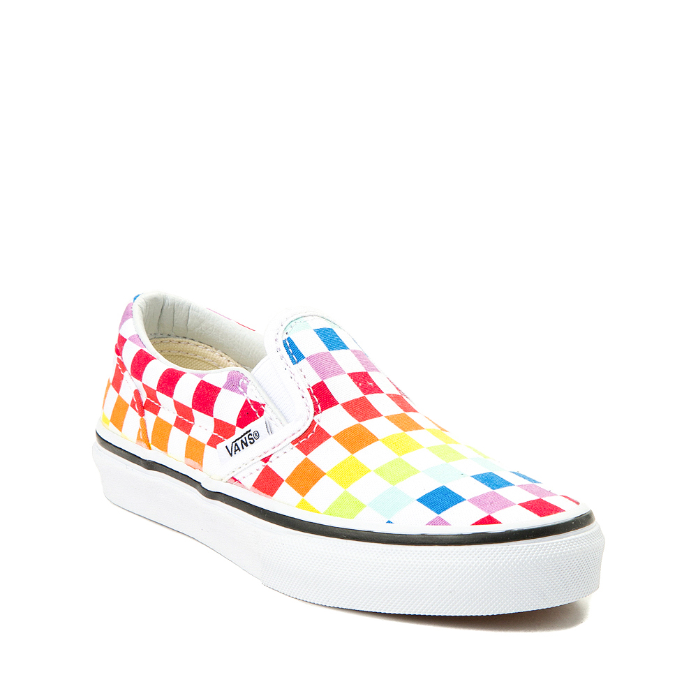 Vans Slip On Rainbow Checkerboard Skate Shoe - Little Kid - Multi
