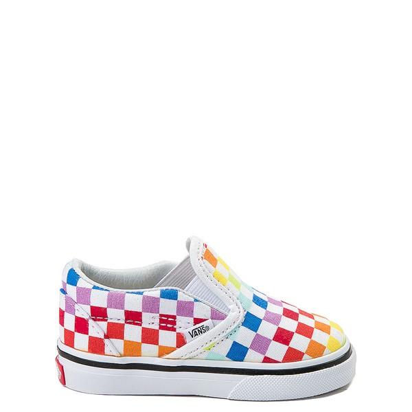 Main view of Vans Slip On Rainbow Checkerboard Skate Shoe - Baby / Toddler - Multi