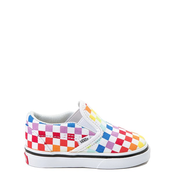 Vans Slip On Rainbow Checkerboard Skate Shoe - Baby / Toddler